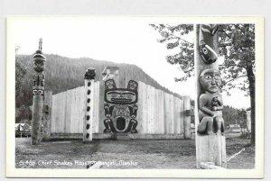 RPPC REAL PHOTO POSTCARD ALASKA WRANGELL CHIEF SHAKES HOUSE TOTEM POLES AND NATI