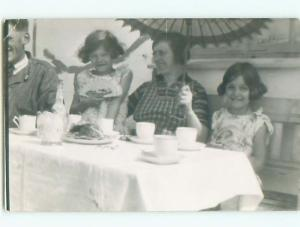 circa 1940 rppc LITTLE GIRL WITH ANTIQUE FAN & MOM WITH UMBRELLA o2555@