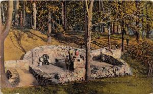 C67/ Akron Summit County Ohio Postcard 1915 Perkins Park Spring People