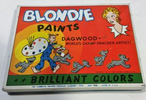 1946 Blondie Dagwood Watercolor Paint Set Tin American Crayon Co Paints Dried VG