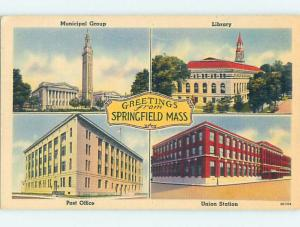 Linen FOUR SCENES ON ONE POSTCARD Springfield Massachusetts MA HM9659