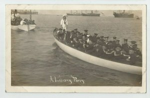 REAL PHOTO POSTCARD~ US NAVY ~ Great White Fleet SAILORS ~ LIBERTY PARTY ~  1908
