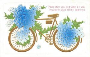 Blue Flower Draped Gold Leaf Bicycle~God Watch O'er You~White Back Embossed~1910