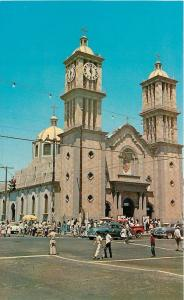 Tijuana BC Mexico~Our Lady Of Guadalupe's Catholic Church~Clock~Nice 1950s Cars