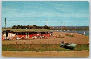 Croften Aten Nebraska~Weigand Resort~Picnic Tables at Roadside Cafe~Boat~1950s