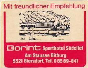 GERMANY BIERSDORF DORINT SPORTHOTEL VINTAGE LUGGAGE LABEL