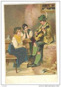 Women swooning over guitar player, 1890s