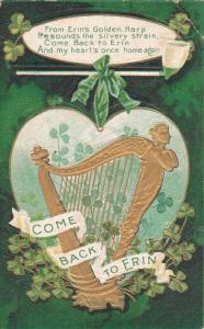 SAINT-PATRICK'S DAY; Come Back to Erin, Gold Harp, Shamrocks, PU-1911