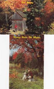 (2 cards) Hunter and Dogs enjoying Fall Beauty - Ozarks AR, Arkansas