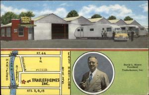 East Hartford CT David Moore Trailer Homes Trailerhomes & Map Advert Postcard