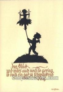 Artist Georg Plischke, Continental Size Silhouette Postcard Post Card Old Vin...