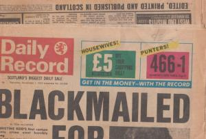 Scottish Scotland Daily Record 1975 Sex Blackmail Newspaper