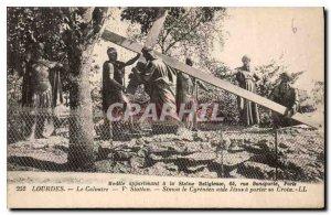 Old Postcard Lourdes Calvary Station V Simon of Cyrene helps Jesus to carry h...