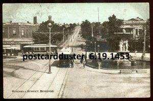 1453 - AUSTRALIA Bendigo 1907 Mitchell Street. Stores. Trams by Griesemer.