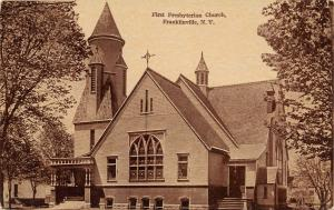 Franklinville NY 1st Presbyterian Church~Long Dormers~Pointy Tower~Cupola~c1910