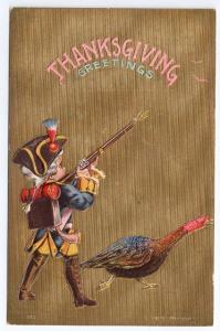 Boy Colonial Soldier Vintage Sander Thanksgiving Postcard Turkey Embossed Gold