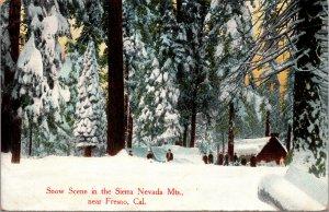 Snow Scene Sierra Nevada Mts near Fresno CA Postcard used 1910
