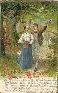 pc7393 postcard Romance Austria embossed postally used