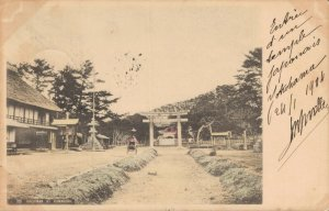 Japan Hachiman at Kamakura Hand Tinted Postcard 03.77