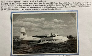 Mint Australia Real Picture postcard Qantas Airlines VH-EBX Flying Boat