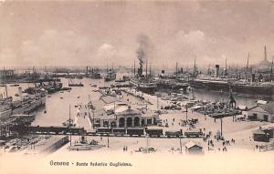 Italy Old Vintage Antique Post Card Ponte federico Gugliemo Genova Unused