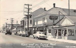 Crescent City CA Store Fronts Pykes Variety Store Mrs Gilvary's News RP Postcard