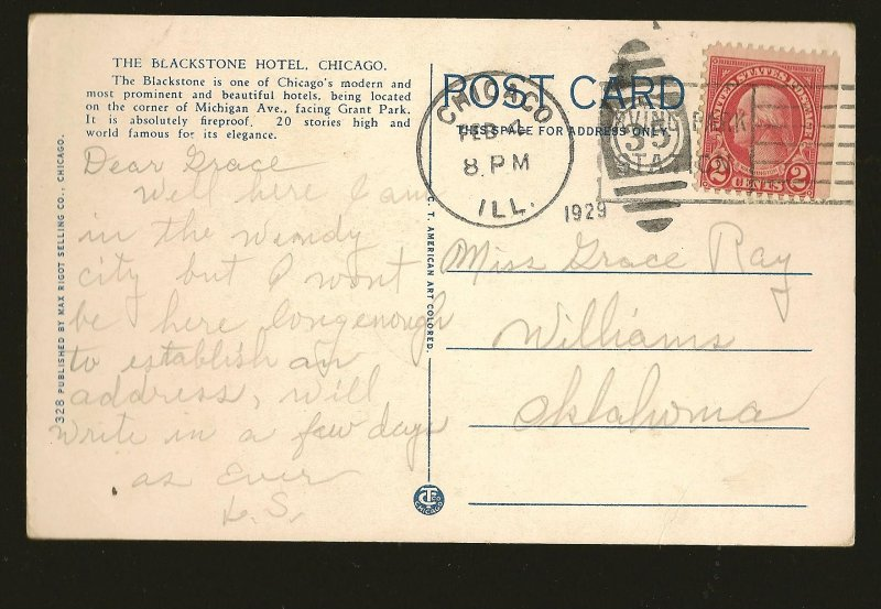 USA Postmark 1929 Chicago ILL The Blackstone Hotel Chicago Postcard