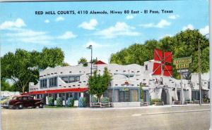 EL PASO, Texas  TX   Roadside  RED MILL COURTS  ca 1940s Linen  Postcard