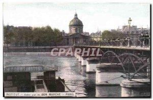 Old Postcard Paris Notre Dame Bon Marche Institute