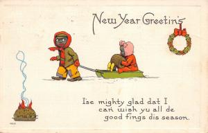 Black Americana New Year~Boy Pulls Little Sister on Sled~All de Good Fings~#9015