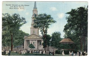 New Haven, Conn, Center Church on the Green and Band Stand