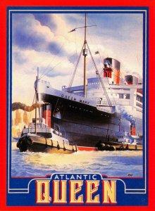 Postcard, Ocean Liner Queen Mary, Atlantic Queen by Athena International GG2