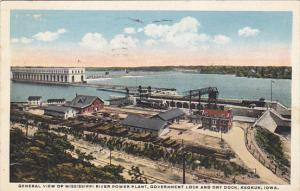 Iowa Keokuk General View Of Mississippi Power PLant Government Lock and Dry D...