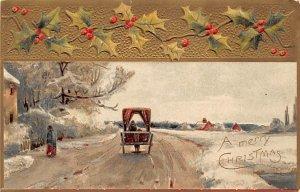 Christmas Holiday Postcard Vintage Xmas Post Card Postal used unknown