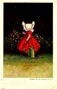 June - Sunbonnet Girl. Artist: Wall   (crease, tear)