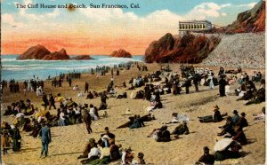Cliff House Beach Scene People San Francisco Calif Early 1900s Postcard