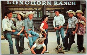 1966 New Mexico Postcard Some of the Hands in a Bull Session at LONGHORN RANCH