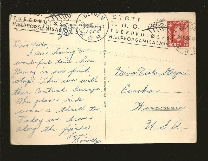 Postmark 1956 Bergen Norway Fykscsund Bridge Norman Photo Postcard