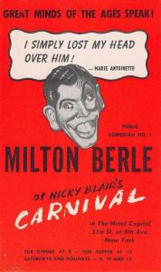 New York City Blair Carnival Milton Berle Ad Antique Postcard K60957