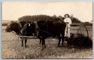 RPPC Ida: Ha! Ha! I Am Out Raking Hay w/The Oxen~Much Fun It Is~Holds Fan? 1909