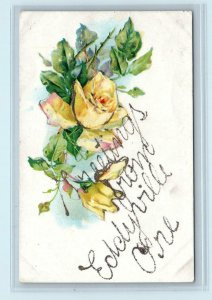 GREETINGS from EDDYVILLE, OR Oregon ~ Yellow Roses  c1910s Embossed   Postcard