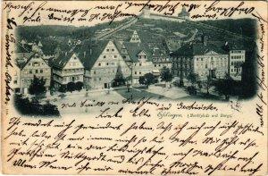 CPA AK ESSLINGEN a. N. Marktplatz mit Burg GERMANY (862283)