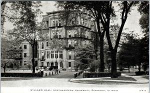 EVANSTON, IL Illinois   WILLARD HALL  Northwestern University  c1930s   Postcard