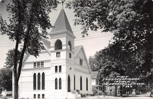 Evansville Wisconsin~First Congregational Church~Neighborhood Homes~1954 RPPC