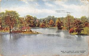 NEW YORK CITY ZOOLOGICAL PARK-VIEW OF LAKE AGASSIZ POSTCARD 1910
