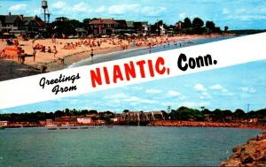 Connecticut Greetings From Niantic Showing Crescent Beach & Niantic Bay and R...