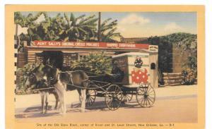 LA New Orleans Old Slave Block Aunt Sallys Creole Pralines Horse Cart Postcard