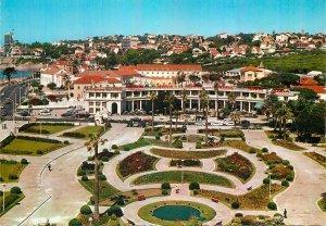 Postcard Portugal Estoril garden of the park flowers aerial panoramic view car