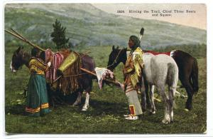 Native American Indian Chief Wife Horses Travois 1910c postcard