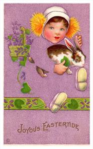346  Easter   Girl with Rabbit